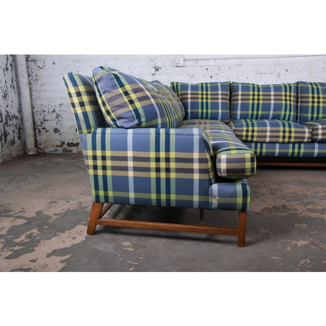 Blue A. Rudin Down Filled Two-Piece Sectional Sofa in Plaid Upholstery For Sale - Image 8 of 13