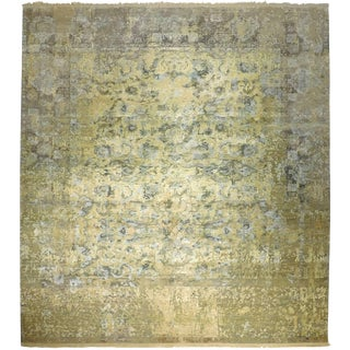 Hand Knotted Indian Wool and Silk Rug - 9'x 12' For Sale
