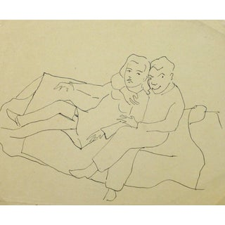 Jean-Charles Lauthe, Vintage Pen & Ink Sketch - Close Couple For Sale