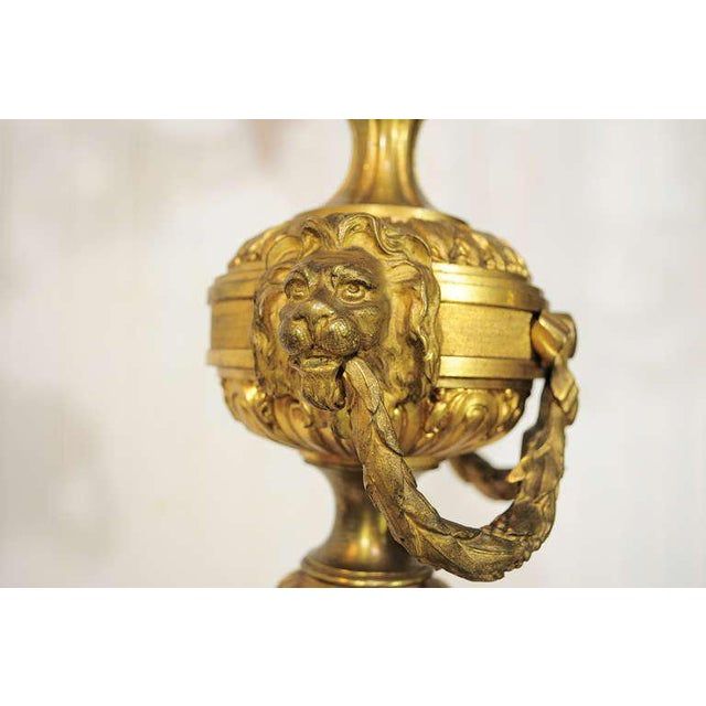 19th Century Figural French Louis XV Style Gilt Bronze Lion Candelabra Table Lamp For Sale - Image 4 of 11