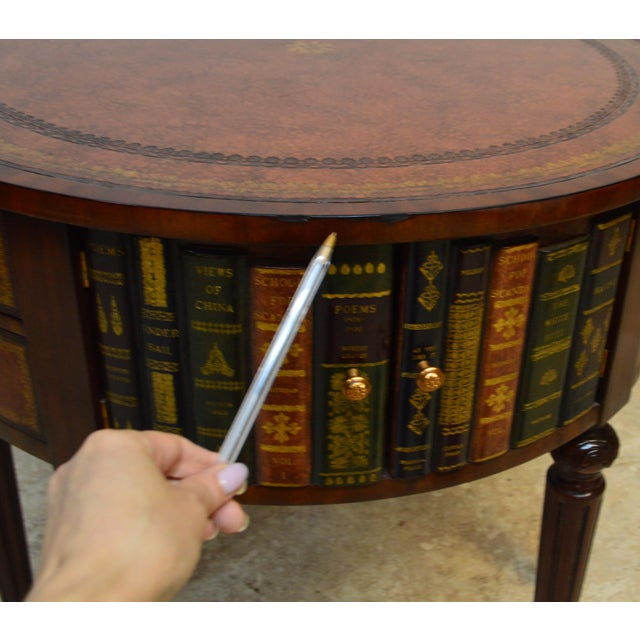 Brown Maitland Smith Mahogany Book Leather Accent Round Hall Table For Sale - Image 8 of 13