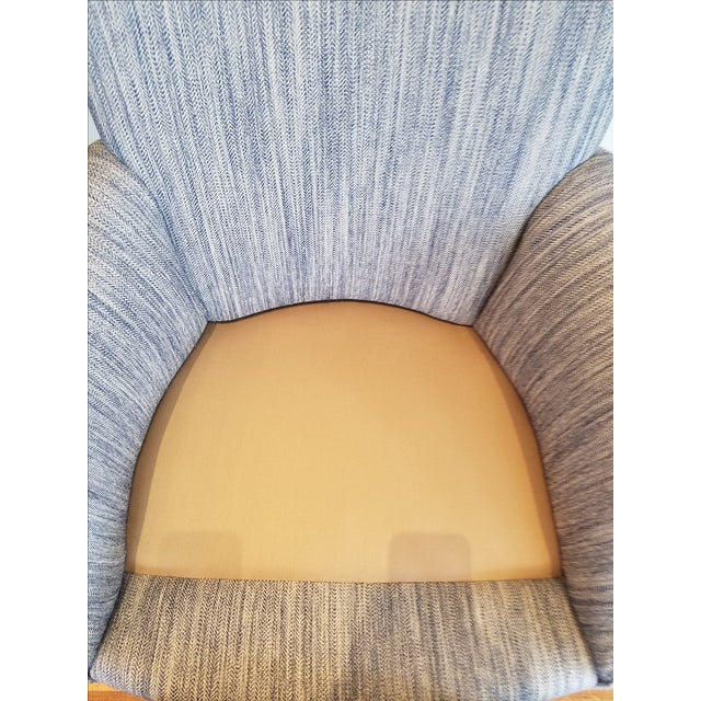 Tight Back Arm Chair in Blue & Grey Fabric - Image 4 of 7
