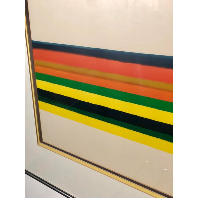 Abstract Midcentury Horizontal Stripe Framed Print For Sale - Image 3 of 4