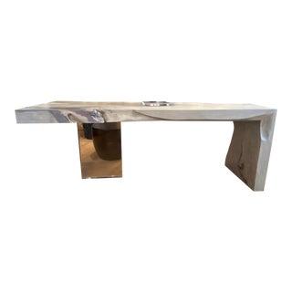 Modern Organic Live Edge Waterfall & Lucite Desk For Sale