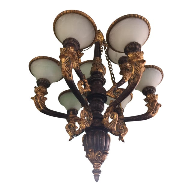 Italian Baroque Chandelier With Alabaster Shades For Sale