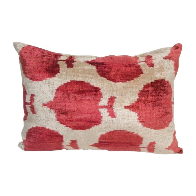Silk Velvet Red Ikat Pillow Cover For Sale