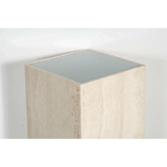 Mid-Century Modern Mid-Century Modernist Travertine Marble and Glass Illuminating Pedestal / Column For Sale - Image 3 of 6
