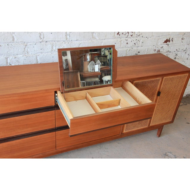 Kipp Stewart for Calvin Mid-Century Modern Walnut and Cane Dresser or Credenza For Sale - Image 11 of 13