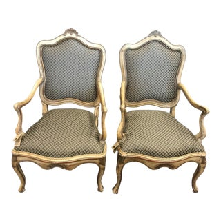 Antique Louis XV Style Armchairs- A Pair For Sale