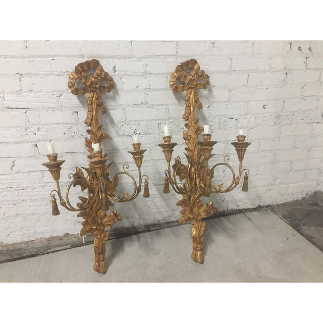 Antique Italian Gold Gilt Candle Sconces - A Pair For Sale - Image 9 of 10