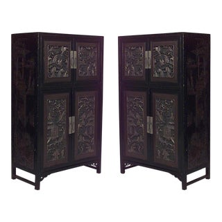 Asian Chinese Style Black Lacquered and Decorated Coromandel Cabinets- a Pair For Sale