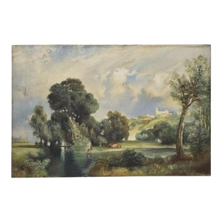 Country Landscape With Figures and Cattle Painting by F.T. Purvos C.1928 For Sale