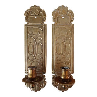 1980s Virginia Metalcrafters Brass Cartouche Candle Sconces - a Pair For Sale
