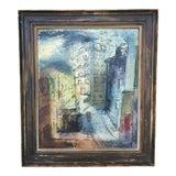 Image of Modernist Parisian Street Scene Painting by John Cunningham For Sale