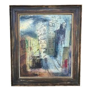 Modernist Parisian Street Scene Painting by John Cunningham
