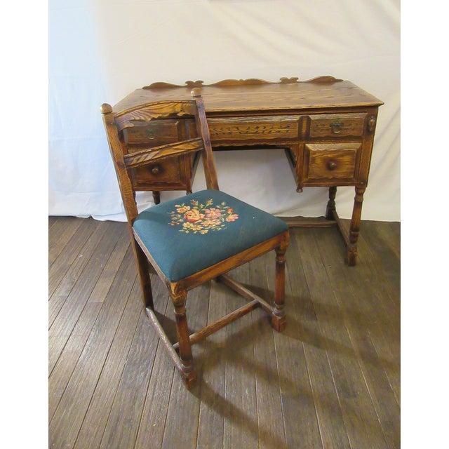 Jacobean Vintage Mid Century Jamestown Lounge Co. Feudal Oak Desk Set- 3 Pieces For Sale - Image 3 of 13