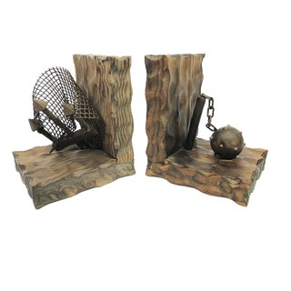 1970s Gothic Revival Hand Made Spanish Wood and Metal Large Bookends - a Pair For Sale