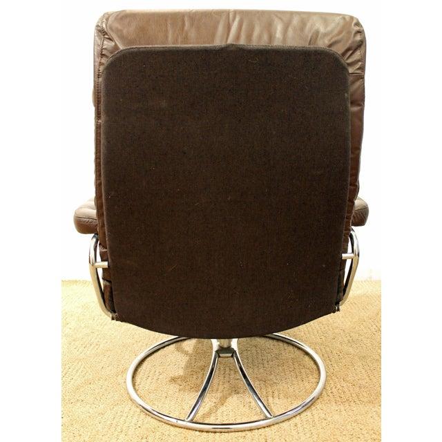 Danish Modern Mid-Century Danish Modern Ekornes Stressless Chrome Lounge Chair/Ottoman For Sale - Image 3 of 11