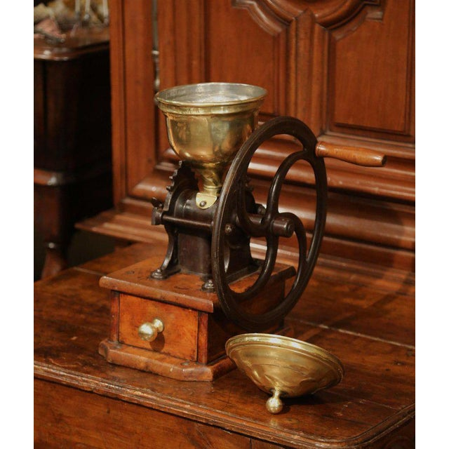 Gold Large 19th Century French Walnut Iron and Brass Coffee Grinder For Sale - Image 8 of 11