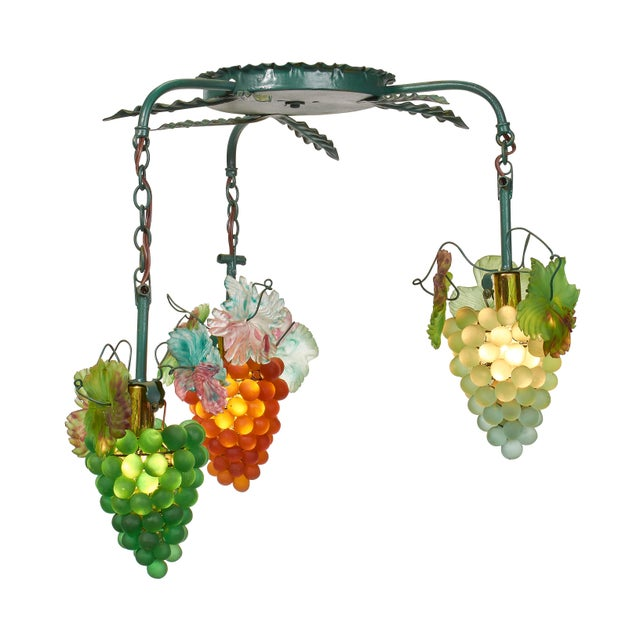 1950s Art Nouveau Murano Glass Grape Cluster Chandelier For Sale In Los Angeles - Image 6 of 6