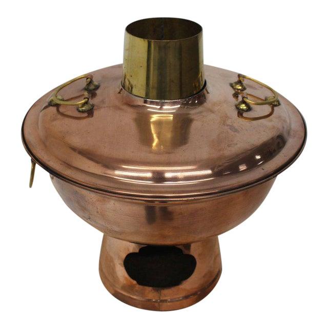 Copper and Brass Coal Burning Food Warmer Removable Chimney Samovar For Sale