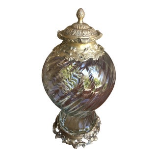 Modern Castilian Imports Glass Urn With Brass Lid For Sale