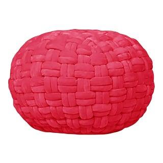 """Checker Board Red Velvet Ottoman 15""""x17"""""""