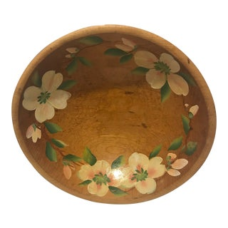 1970s Hand Painted Vintage Decorative Wood Bowl