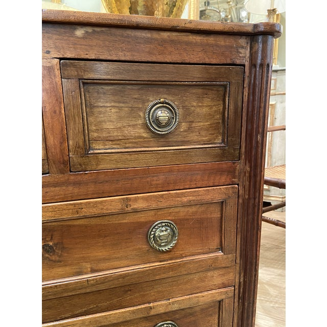 19th Century French Walnut Five Drawer Commode For Sale - Image 4 of 11