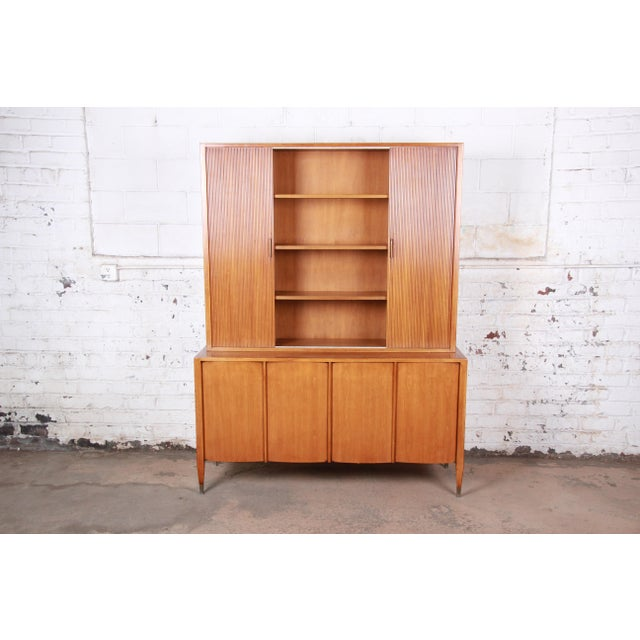 Danish Modern Sligh Mid-Century Modern Walnut Sideboard Credenza With Bookcase Hutch For Sale - Image 3 of 12