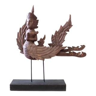 Vintage Mid-Century Thai Carved Garuda Winged Deity Goddess Statue For Sale