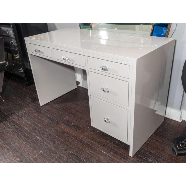 2010s Custom Grey Lacquer Desk For Sale - Image 5 of 6