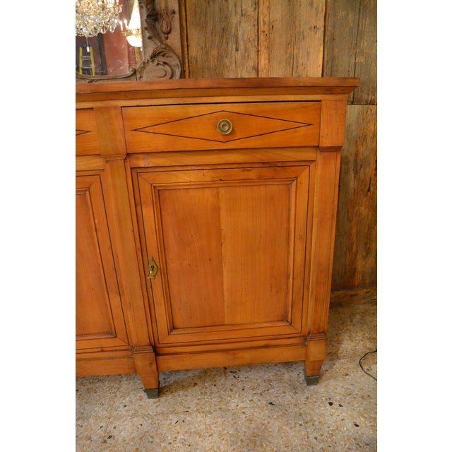 Antique French 19th Century Directoire Enfilade Sideboard. Fruitwood with ebony lining.