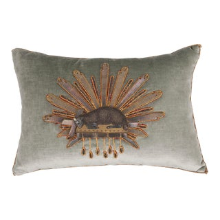 "B. Viz Design Antique ""Lamb of God"" Textile Pillow For Sale"