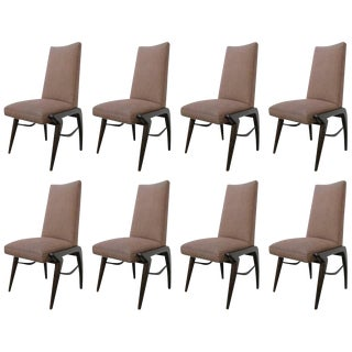 Set of 8 Midcentury Walnut Dining Chairs For Sale