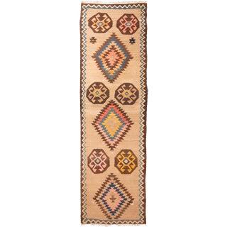 Vintage Mid-Century Kilim Wool Runner - 4′ × 13′ For Sale