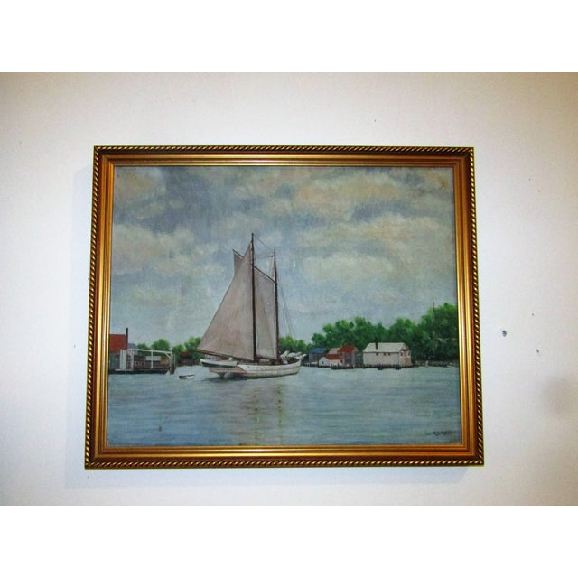 Vintage Original Signed Sailboat in a Cove Oil on Canvas - Image 2 of 5