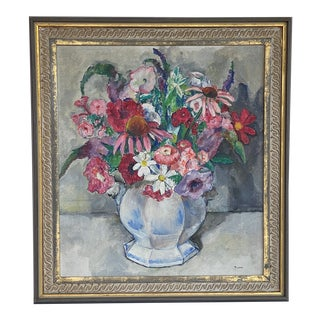 Mid 20th Century Floral Still Life Oil Painting, Framed For Sale