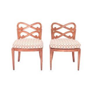 Pair of Painted Italian Chairs With Elaborate Scrolling Backspats For Sale