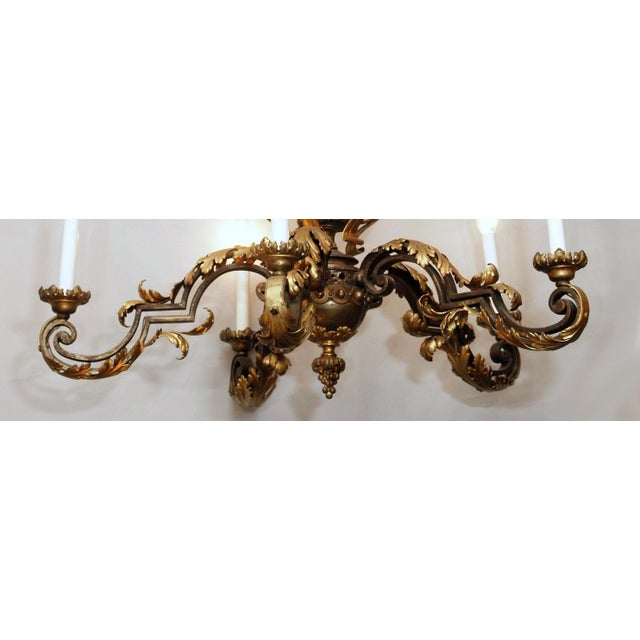 Antique French Late 19th Century Brass and Iron Chandelier For Sale - Image 4 of 5