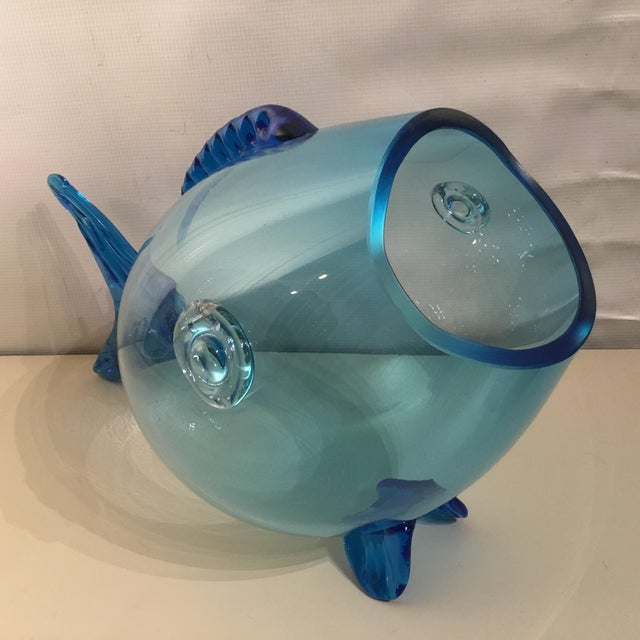 Huge Mid Century Turquoise Blenko Fish - Image 3 of 6