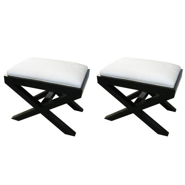 Mid-Century Modern Pair of Custom Ebonized X-Frame Benches For Sale - Image 3 of 3