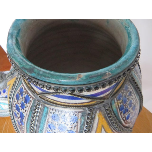 Antique Moroccan Jar with Filigree For Sale - Image 5 of 11