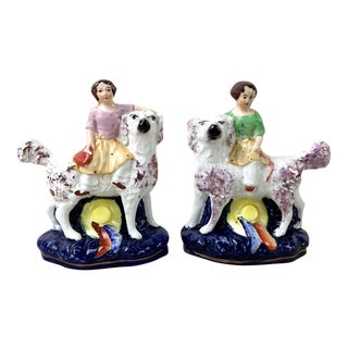 Staffordshire Ware Dogs With Girls - a Pair For Sale