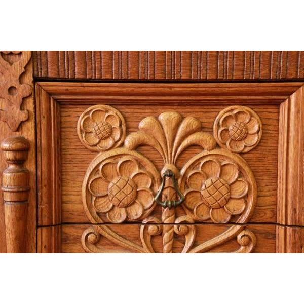 Antique Spanish Revival Oak Sideboard Buffet - Image 7 of 8