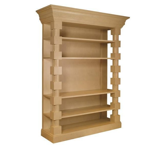 Four fixed shelves. Designed by Mary McDonald