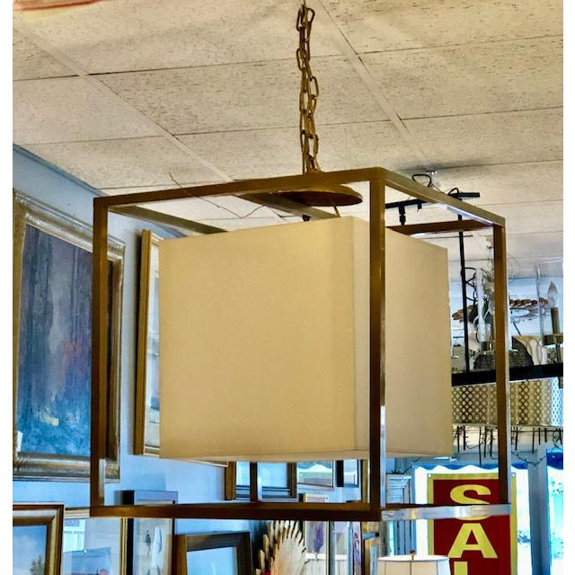 Modern Modern Square Brass Chandelier With Linen Shade For Sale - Image 3 of 6
