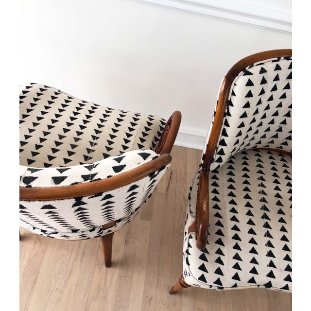 Fabric Vintage Black & White Upholstered Arm Chairs - A Pair For Sale - Image 7 of 13