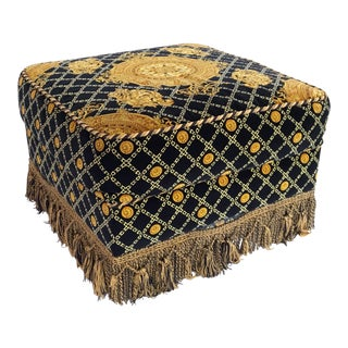 Stefano Giovanni Versace Style Plush-Upholstered Ottoman