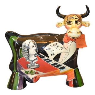 Hand Painted Turov Art Ceramic Cow Figurine, Russia For Sale
